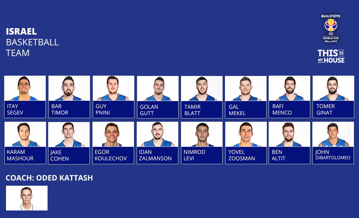 סגל נבחרת ישראל למשחקים נגד גארוגיה וגרמניה. שגב, זוסמן, משעור ודיברתלומיאו בפנים
